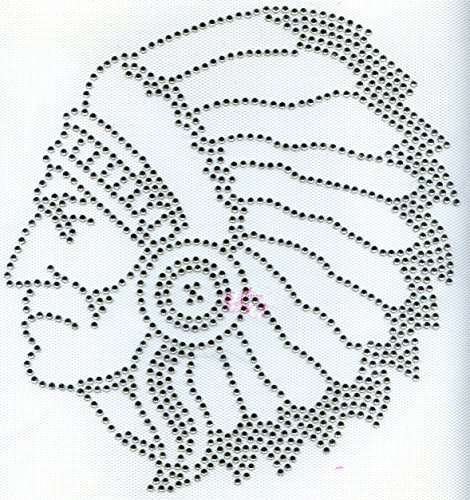 Indian Head/Face - Crystal - Rhinestone Iron on Transfer