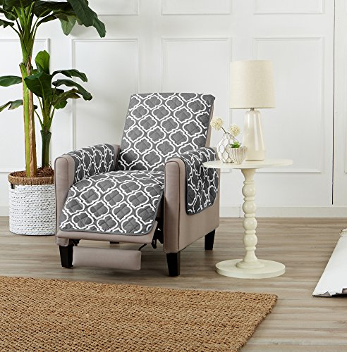 Adalyn Collection Deluxe Reversible Quilted Furniture Protector. Beautiful Print on One Side / Solid Color on the Other for Two Fresh Looks. By Home Fashion Designs Brand. (Recliner, - Mall Savannah Shopping