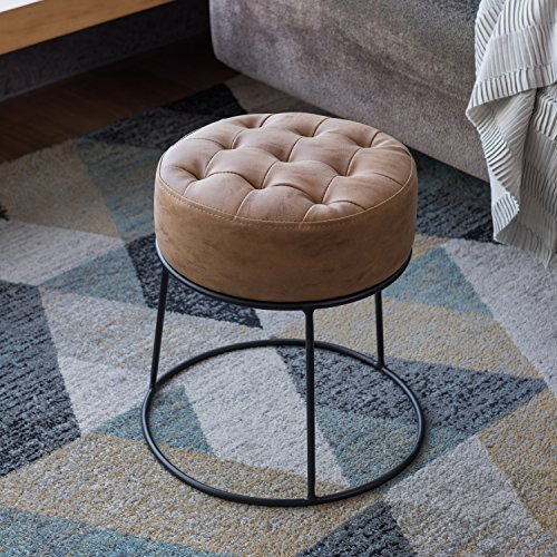 Dwarf Round Stool Prouf Stackable Ottoman Footrest Small Seat Hi-end Faux Leather Light Tan Designed by Art-Leon Furniture (Ottoman Leather And Metal)
