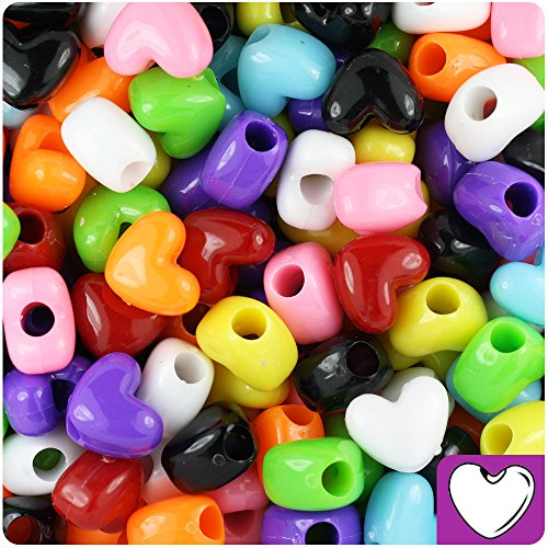 BEADTIN Mixed Colours Opaque 12mm Heart Pony Beads (250pc)