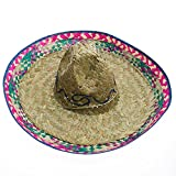 """19"""" Adult Mexican Costume Sombrero Hat With Red Trim"""