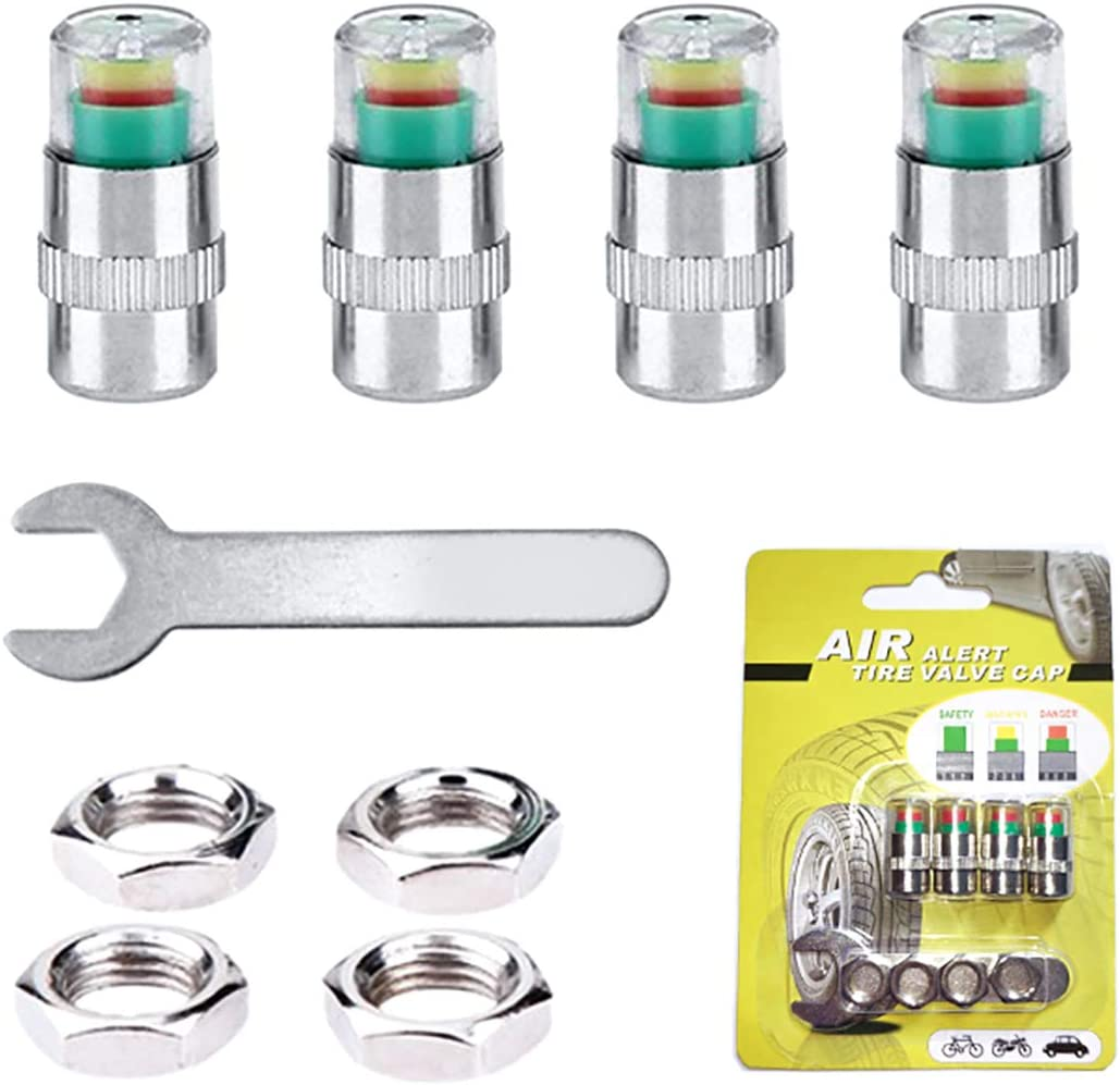 QISF 4Pcs Tire Tyre Pressure Monitor Valve Caps Warning Safety 3 Colors Sensor Indicator Anti-theft Caps Air Valve Caps with Nuts /& Wrench