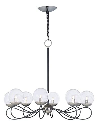 Chandeliers 8 Light Bulb Fixture With Textured Blackpolished Nickel