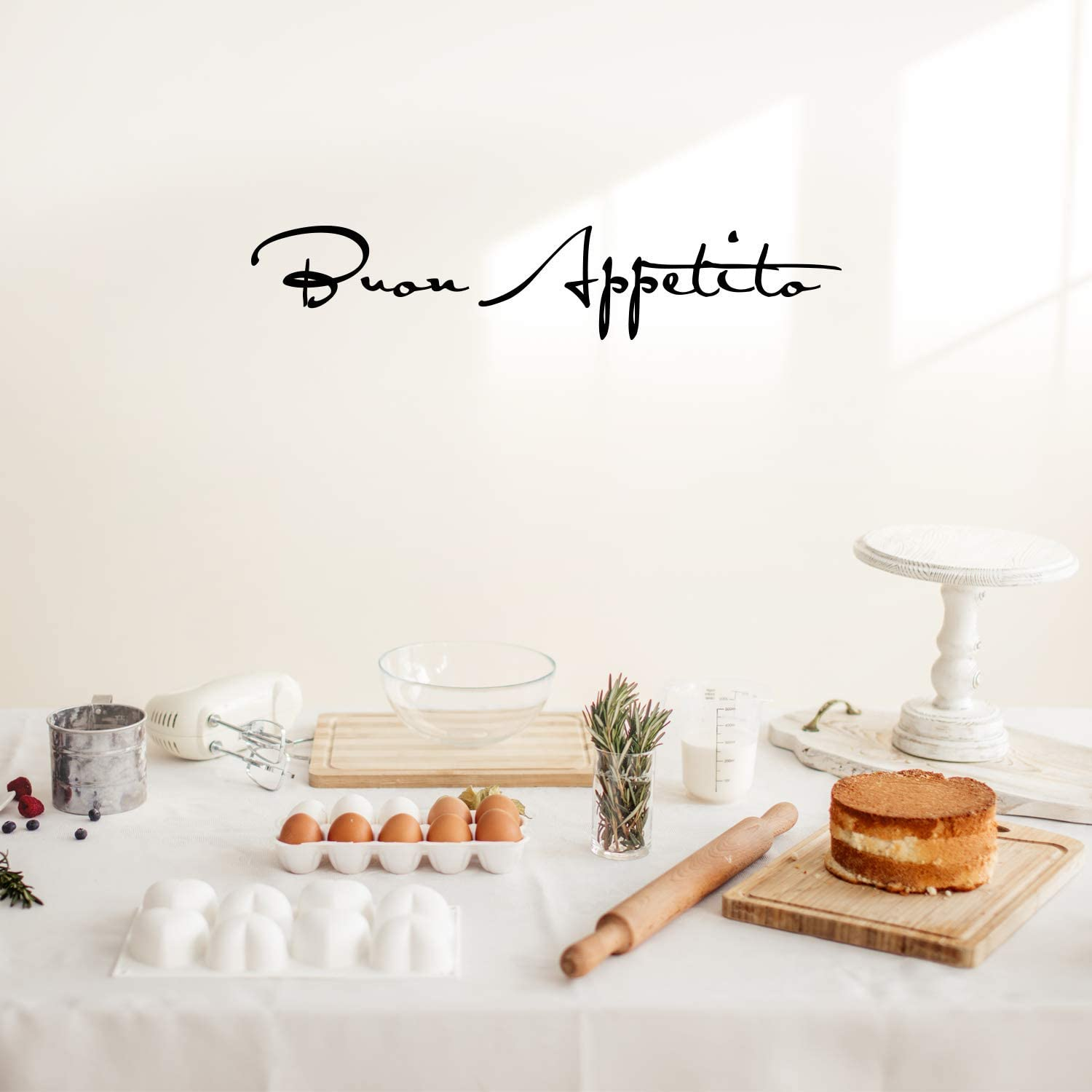 """Vinyl Wall Art Decal - BUON Appetito - 7"""" x 36"""" - Modern Cursive Trendy Home Foodie Treats Kitchen Cafe Pantry Dining Room Apartment Household Restaurant Coffee Shop Eatery Decor"""