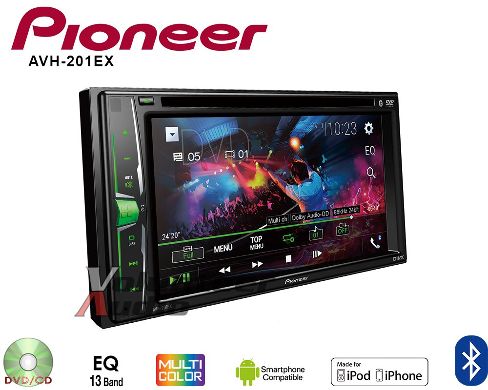 Volunteer Audio Pioneer AVH-201EX Double Din Radio Install Kit with CD Player Bluetooth USB/AUX Fits 2010-2011 Transit Connect by Volunteer Audio (Image #4)
