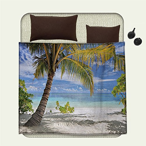 smallbeefly Palm Tree emergency blanket Tropical Sandy Beach with Palm Trees Maldives Coastline Peaceful ThemePrint Coconut and - Sectional Beach Palm