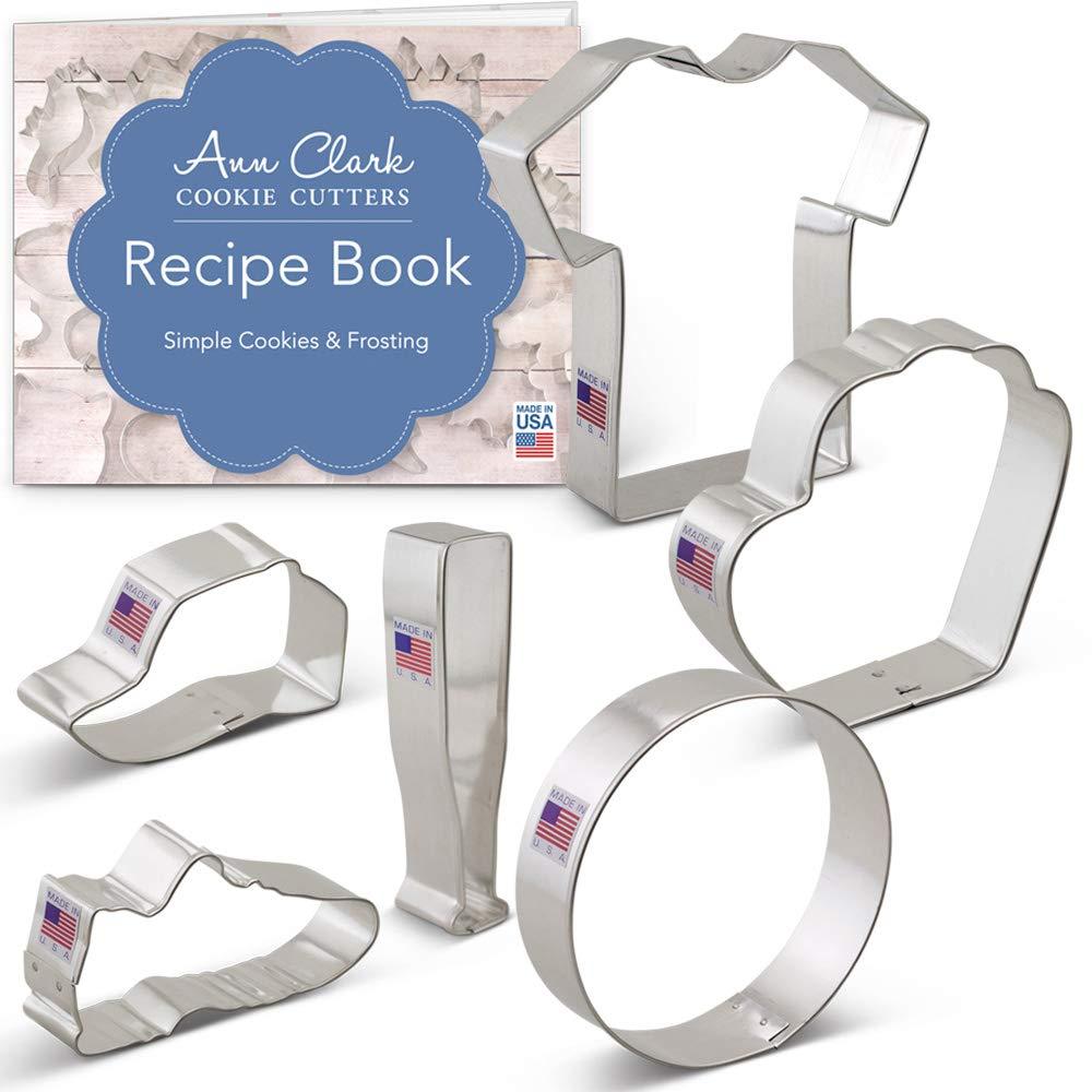 Baseball Cookie Cutter Set with Recipe Booklet - 6 piece - Bat, Ball, Glove, Jersey, Cap, Shoe - Ann Clark - Tin Plated Steel