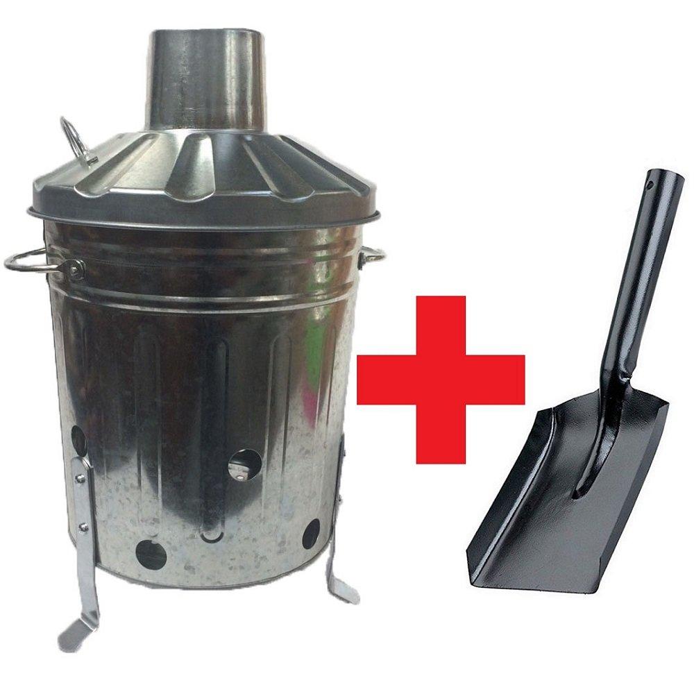 15 Litre 15L Small Mini Galvanised Metal Incinerator Recycle Garden Rubbish Fire Burning Binwith FREE SHOVEL UK