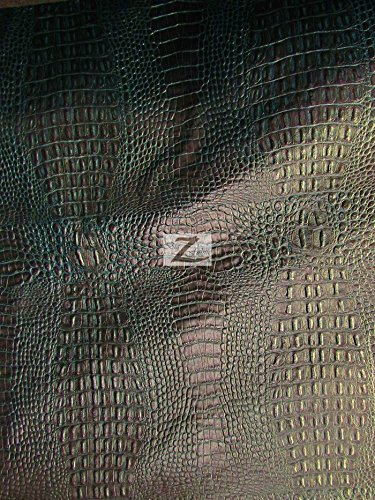 (ALLIGATOR EMBOSSED VINYL FAUX LEATHER PLEATHER FABRIC - Venom Green Black - 56