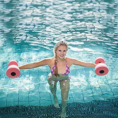 Fitfulvan 1 Pair Aquatic Exercise Dumbells - Fitness Barbells Foam Hand Dumbbells Weight Pool Resistance Exercise for Water Aerobics: Sports & Outdoors