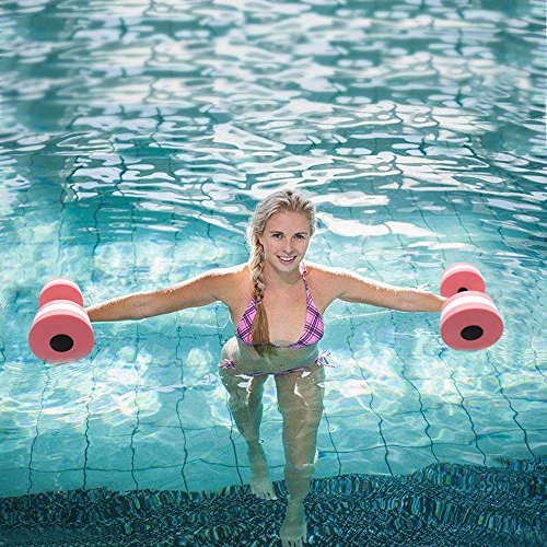 Outdoor & Sports,Dartphew 1 Pair Aqua Fitness Barbells Foam Dumbbells Hand Bars Pool Resistance Exercise,Suitable for Swimming pool, Spa, Fitness Exercises(Pink, EVA Foam) by Dartphew Outdoor & Sports