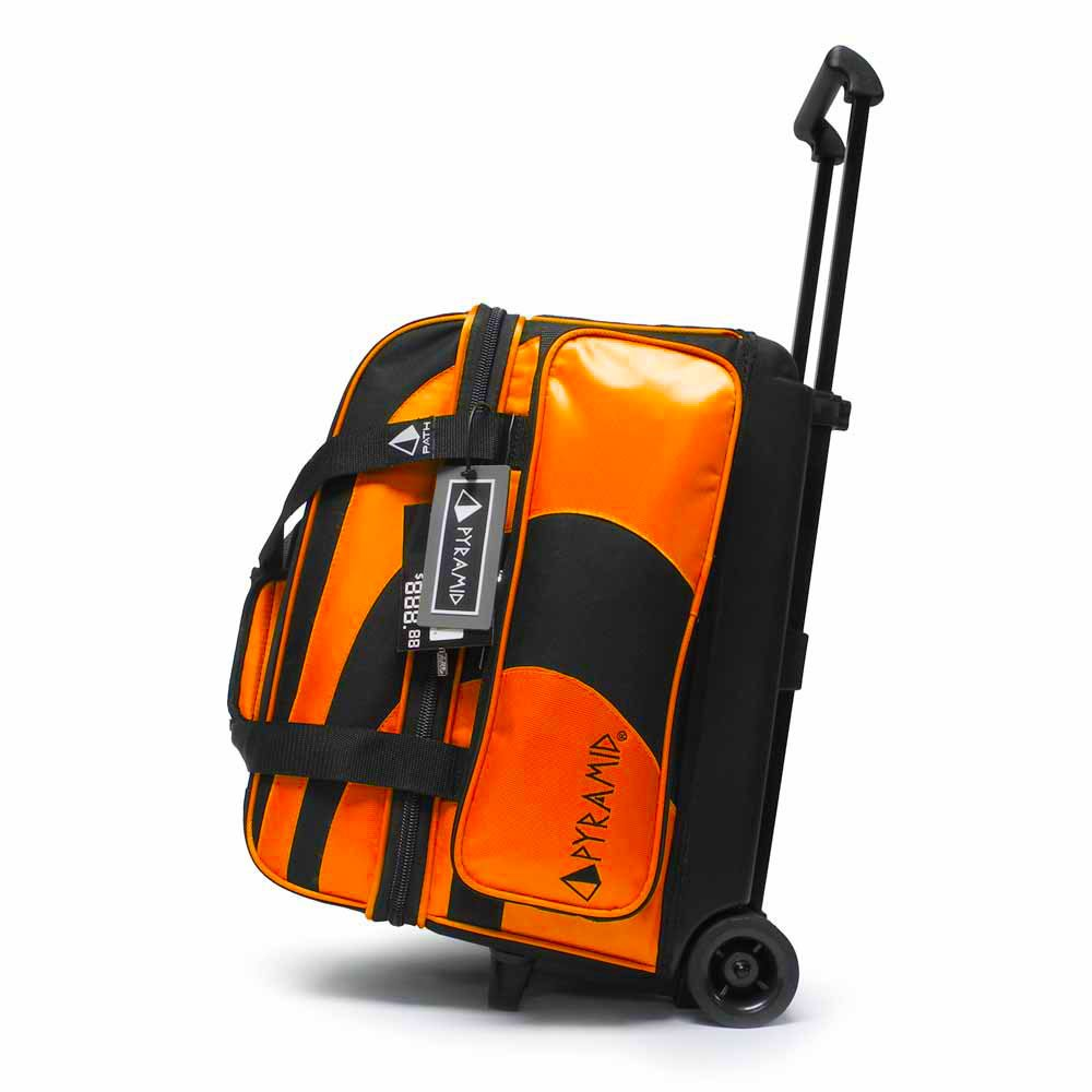 Pyramid Path Deluxe Double Roller Bowling Bag (Black/Orange)