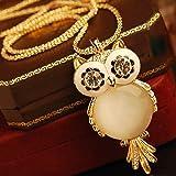 Jovana Retro Big Eye Owl Pendant Design Necklace(Gold)