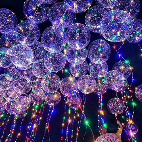 ElementDigital LED Balloon Light Up Transparent Balloons LED Multi Light for Christmas Birthday Cub Wedding and Party Battery 18 inch 10 pcs