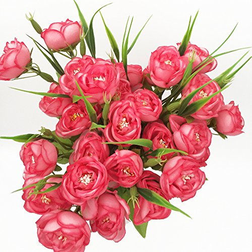 - CLEVER BEAR Set of 3 Bunches 10 Heads Artificial Flowers for Decoration with Multicolor Realistic Artificial Flowers(Deep pink)