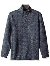 Arrow 1851 Mens Aberdeen Long Sleeve Sweater Fleece 1/4 Button Mock Pullover Pullover Sweater