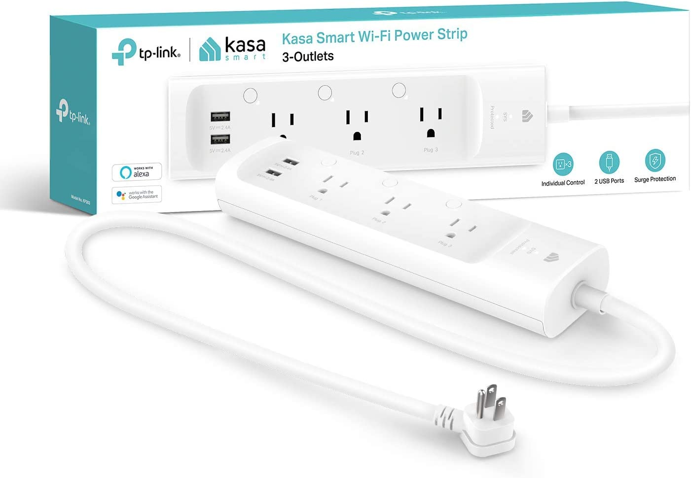 Kasa Smart Plug Power Strip, Surge Protector w/ 3 Smart Outlets and 2 USB Ports, Works with Alexa Echo & Google Home , No Hub Required (KP303)