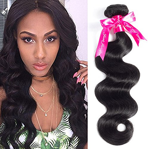 Beauty Princess Hair Brazilian Body Wave 1 Bundle 8A Unprocessed Virgin Human Hair Weaves 95-100g/bundle Natural Black Color (20inch, Black)