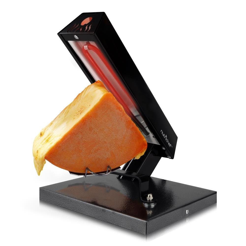 NutriChef PKCHMT24 Raclette Grill Melter/Warmer Electric Machine-Swiss Style Maker-to Cover Potatoes, Vegetables or Pasta with Melted Cheese, One Size Black/Chrome