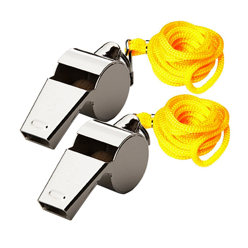 2 Pieces Metal Referee Whistles, Sicai Coach Whistles with Lanyard for Football Coaches and Officials