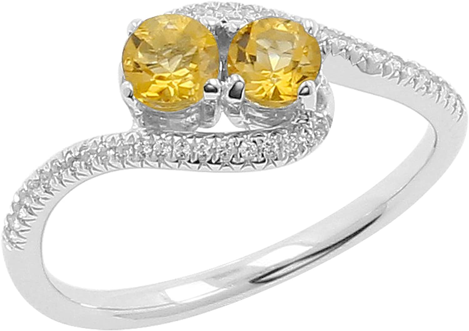 Size-7 Isha Luxe-Gemstone Collection Citrine and White Topaz 2-Stone Curved Bypass Ring in 925 Silver