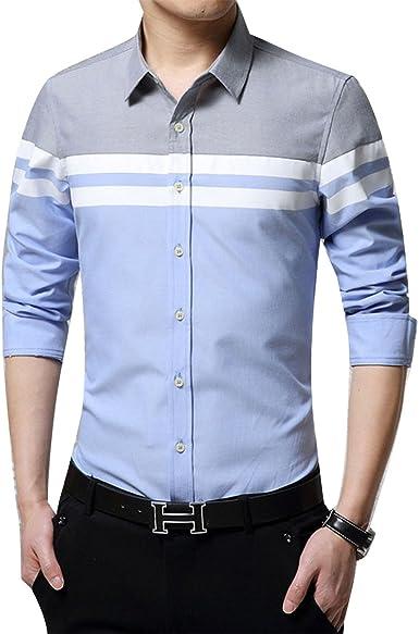 Dunland Camisas de Vestir Hombre Regular Fit Algodón y Lino Azul Patchwork Planchado Camisa de un: Amazon.es: Ropa y accesorios