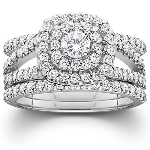 1 1/4ct Diamond Engagement Cushion Halo Wedding Ring Trio Set 10K White Gold - Size 5