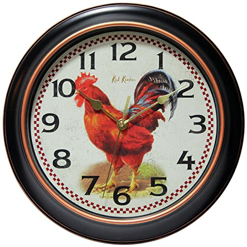 (Infinity Instruments Red Rooster Silent Sweep 12 inch Wall Clock)