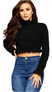 862120616d5 Women Long Sleeve Polo Neck Knitted Cropped and Frilled Jumper Top ...