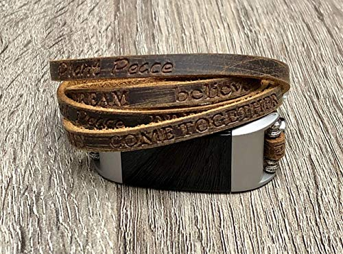 - Luxury Leather Bracelet For Fitbit Charge 2 Fitness Tracker Handcrafted Brown Multi Wrap Adjustable Size Fitbit Charge 2 Band Metal Buckle Clasp Embossed Inspirational Words Wristband