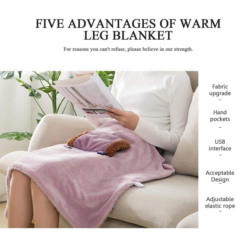 Multifunction USB Charging Heating Pad Leg Blanket with Warmer Pocket lesgos Heated Blanket Portable Electric Soft Fleece Warm Heated Wrap Blanket for Travel Car Office Home