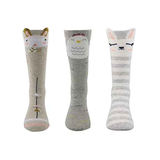 766eb5beb22c24 Jiuhong Baby Girls Knee High Sokcs Cotton Over Calf Socks Animal Cat Fox  Knit Stockings,