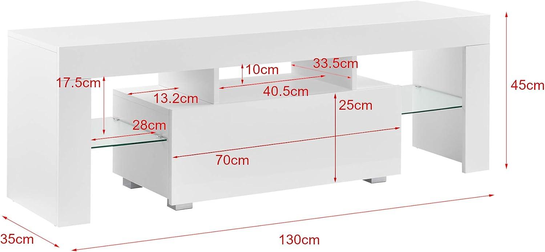 en casa mesa de tele con led 130 x 35 x