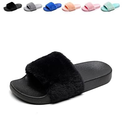 2fac9b03dee Women s Flip Flop Fur Slide Slip On Flats Shoes Black 6-6.5 B(M