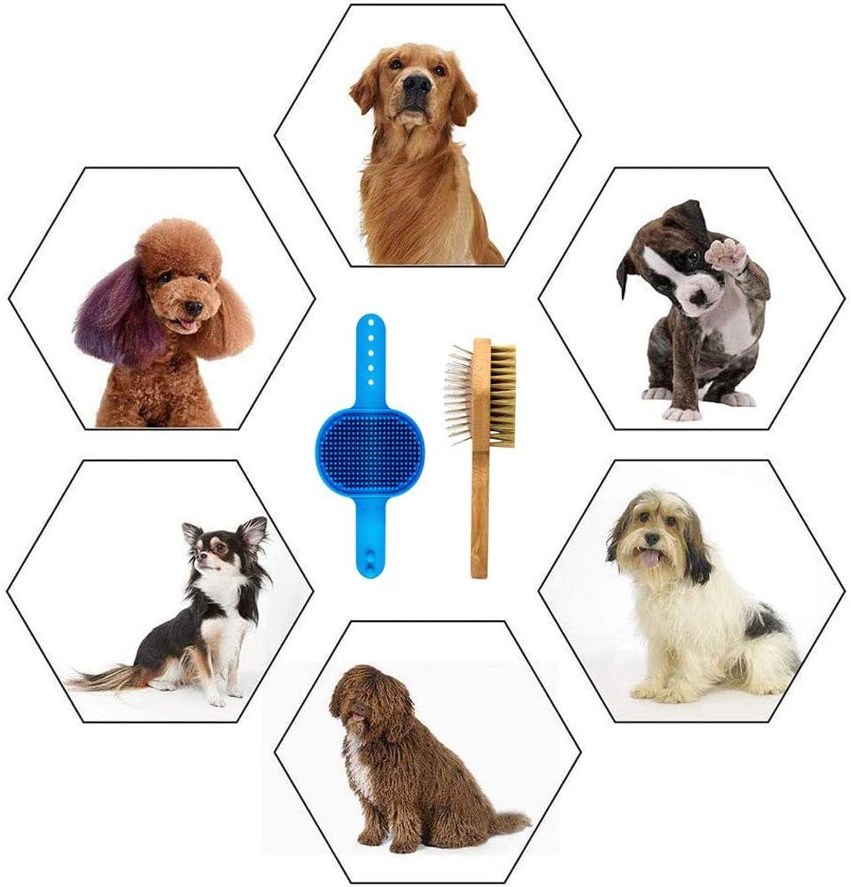 YGHH 2 Piezas Cepillo de Masaje Ba/ño para Mascotas Doble Bamb/ú TPR Peine Mascotas para Mascotas para Perros y Gatos con Pelo Corto o Largo Peine Doble Cara para Mascotas Cepillo Champ/ú para Perros