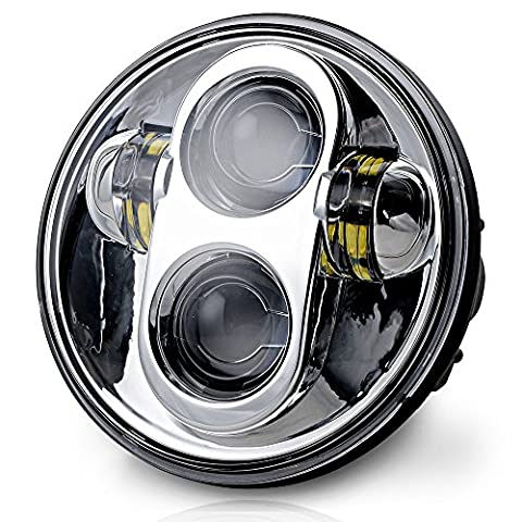 Ohmotor Chrome Waterproof 50W 5.75 Inch Daymaker Round LED Creed Projector Motorcycle Headlight for Harley Davidson - Motorcycles Neon Clock