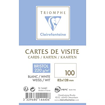 Clairefontaine 1444C Bote De 100 Cartes Visite En BRISTOL Plastique 82 X 12