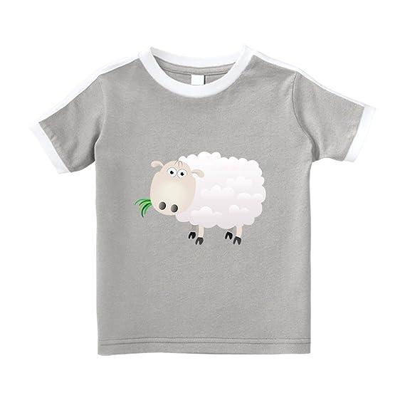 bbf493bfe7c7 Amazon.com: Cute Rascals Sheep Eating Grass Cartoon Cotton Short Sleeve  Crewneck Unisex Toddler T-Shirt Soccer Tee - Oxford Gray, 5/6T: Clothing
