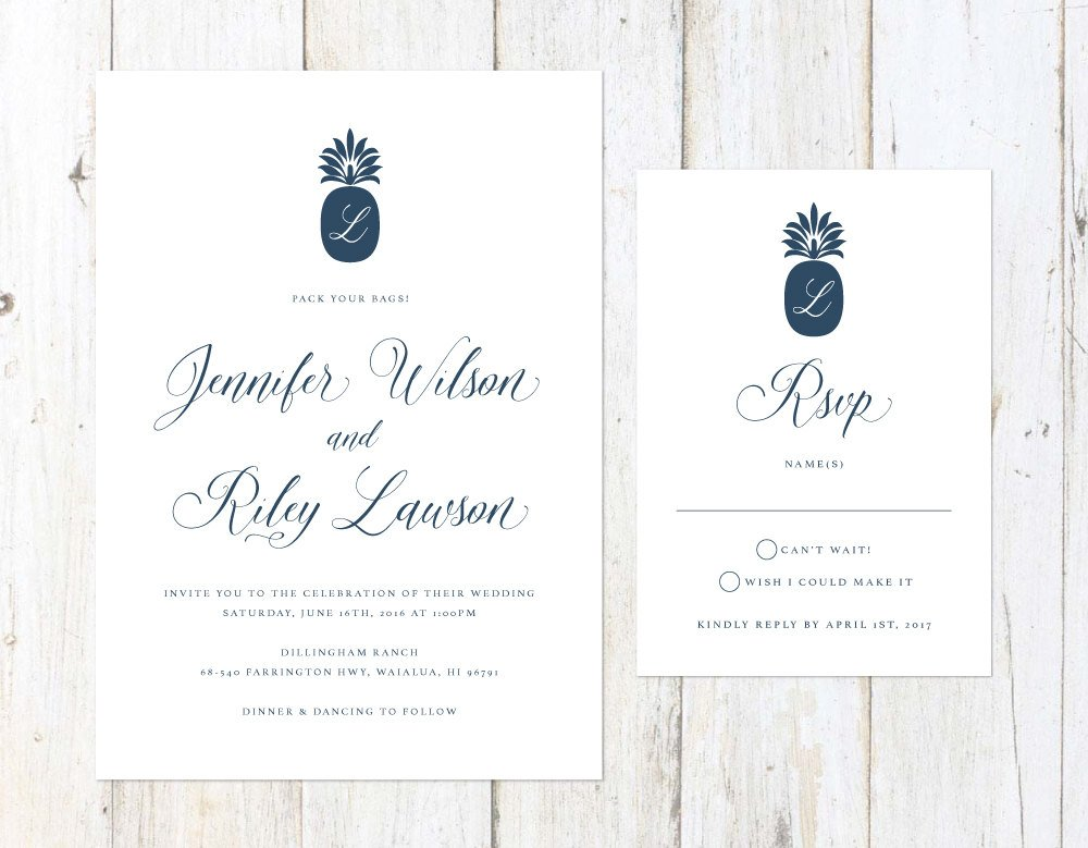 Tropical Wedding Invitation, Navy Blue Tropical Wedding Invitation, Formal Destination Wedding Invite