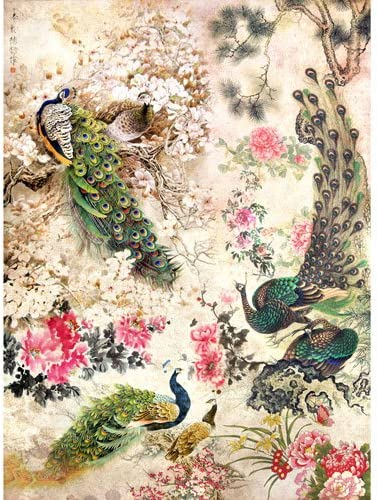 Rice Paper for decoupage~ 11,1 x 15,11 inches Lavender, Birds, Roses, Letter Made in Russia