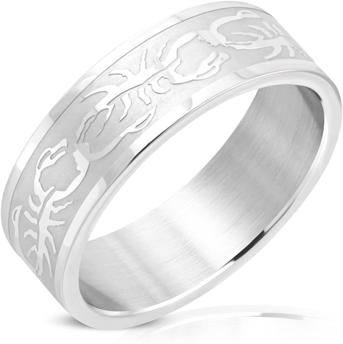 Stainless Steel Matte Finished Scorpion Zodiac Sign Flat Band Ring