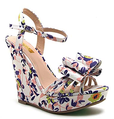 322f6e220c Amazon.com | Qupid White Blush Floral Wedge Heel Bow décor Women's Shoes  Glory-174x | Platforms & Wedges