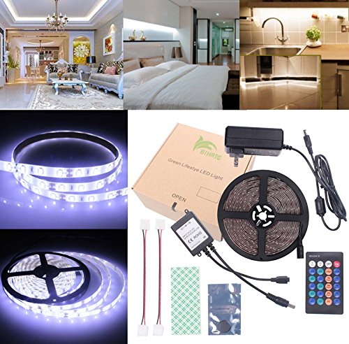 BIHRTC Waterproof IP65 Daylight White LED Light Strip Kit 5630 16.4 Ft 5M 300 Leds 60 Leds/m Flexible Tape Lighting Tape with 24 Keys IR Remote Controller and 12V 3A UL Listed Power Supply Adapter -  Shenzhen Integrity Tiancheng Electronic Technology Co., LTD