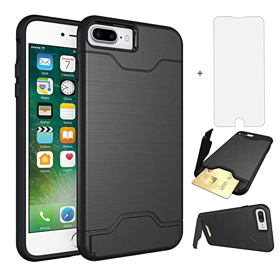 iPhone 7 Plus 8 Plus Case i Phone Cases Wallet with Tempered Glass Screen  Protector ea0eb21bbb