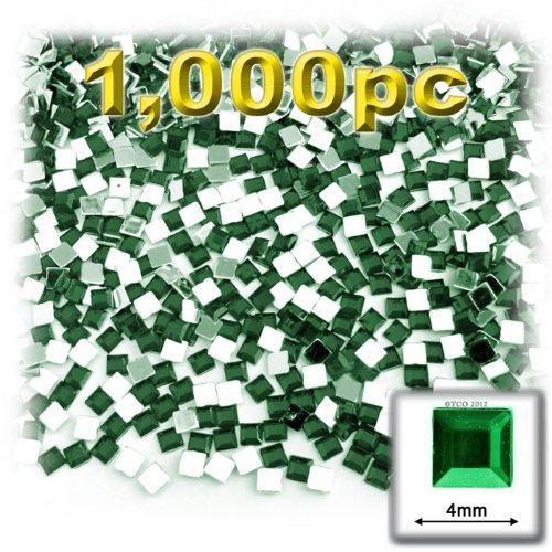 工芸のアウトレット1000-pieceフラットバックスクエアラインストーン、4mm、エメラルドグリーン