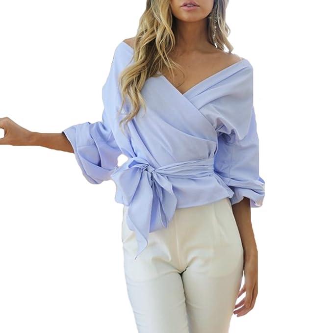 Sexy Blusas Mujer Camisas Cuello V Camisetas Sin Tirantes Camisetas Manga Larga Blusas Solide Pulóver Rayas