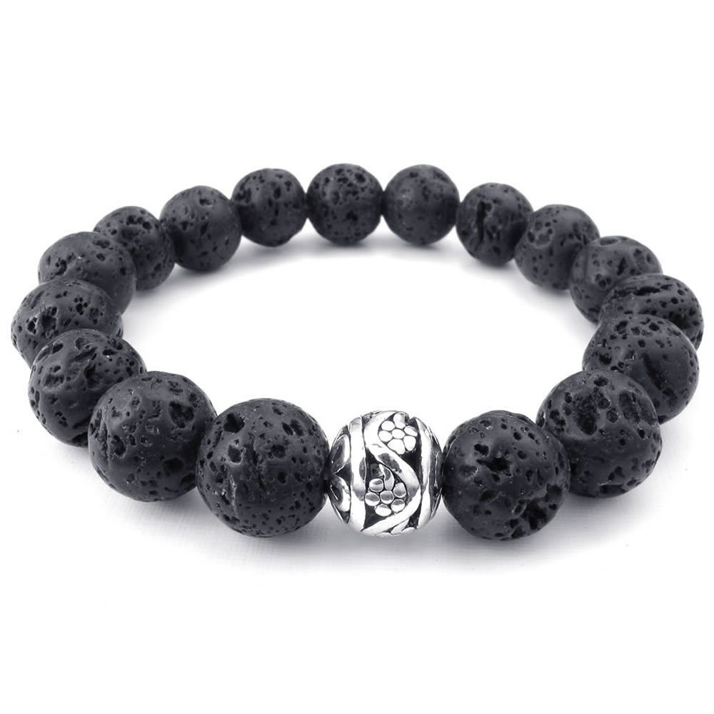 Konov Jewelry Energy Mens Bracelet, 12mm Lava Rock and Silver Bead Bangle, Black Silver, with Gift Bag, C24003 10024003C