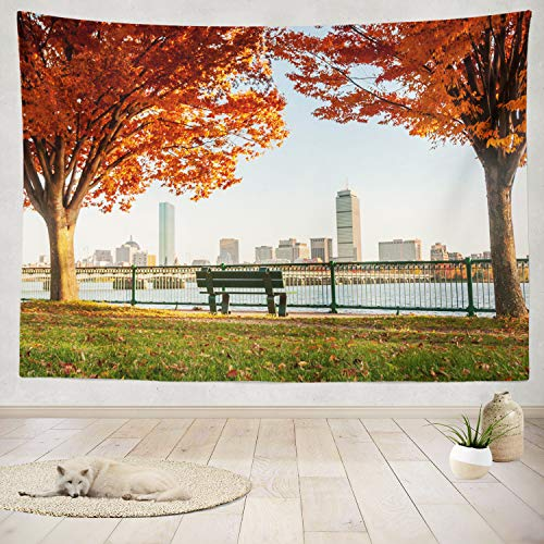 ASOCO Tapestry Wall Handing Skyline Autumn from River Fall Autumn Skyline United States England New Wall Tapestry for Bedroom Living Room Tablecloth Dorm 60X80 Inches