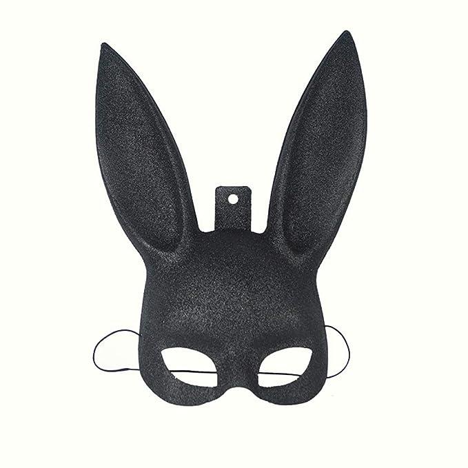Ouken 1pcs Glitzernde Maskerade Bunny Kaninchen Gesicht Maske Halloween Kostüm Party Prom Maske für Frauen Männer Cosplay (sc