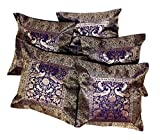 5Pcs-100Pcs Amazing India Banarasi Silk Ethic Elephant Design Dark Blue Cushion Covers Wholesale Lot